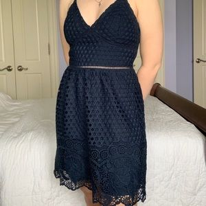 Abercrombie and Fitch cross back lace navy dress